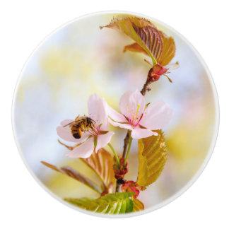 Bee On A Cherry Flower Ceramic Knob
