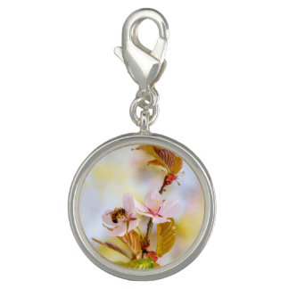 Bee On A Cherry Flower Charms