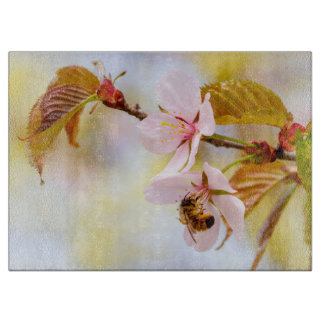 Bee On A Cherry Flower Cutting Board