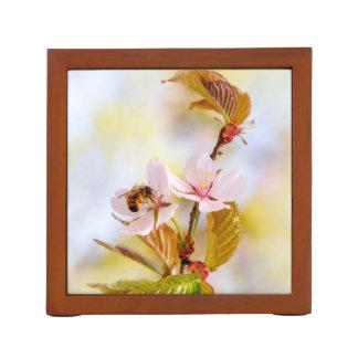 Bee On A Cherry Flower Desk Organizer