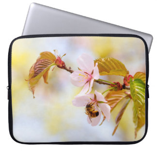 Bee On A Cherry Flower Laptop Sleeve