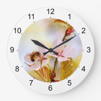 Bee On A Cherry Flower Large Clock