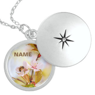 Bee On A Cherry Flower Locket Necklace