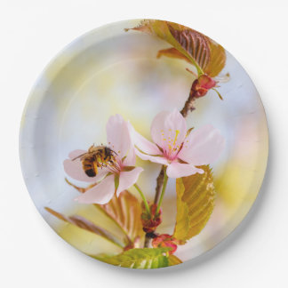 Bee On A Cherry Flower Paper Plate