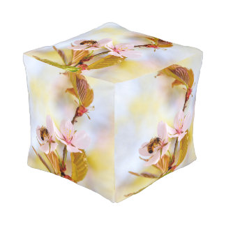 Bee On A Cherry Flower Pouf