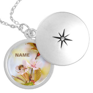 Bee On A Cherry Flower Silver Plated Necklace