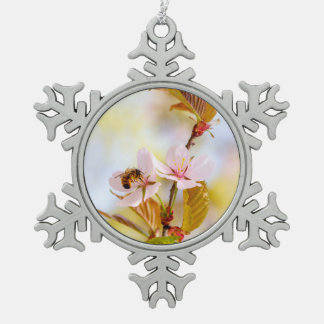 Bee On A Cherry Flower Snowflake Pewter Christmas Ornament