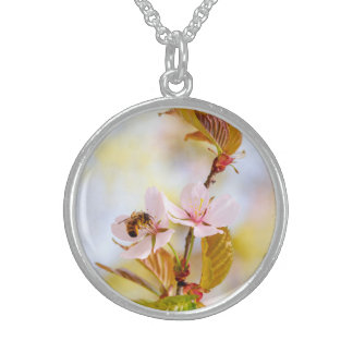 Bee On A Cherry Flower Sterling Silver Necklace