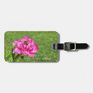 Bee on a Pretty Rose Luggage Tag