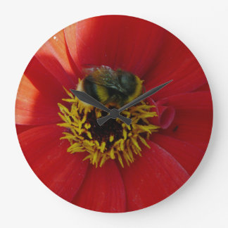 Bee on a red flower wall clock