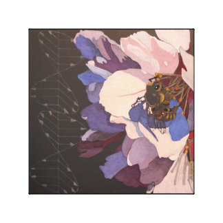 Bee on Almond Blossom with Polarized Light Vectors Canvas Print