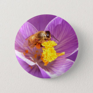 Bee on Crocus ~ button