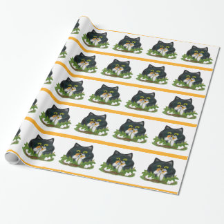 Bee on Dandelion Buzzes Kitten Wrapping Paper