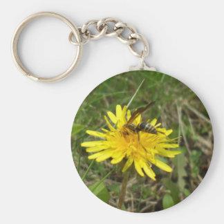 Bee on Dandelion Flower Basic Round Button Keychain