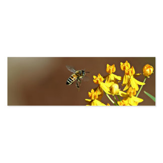 Bee On Flower Bookmark Double-Sided Mini Business Cards (Pack Of 20)