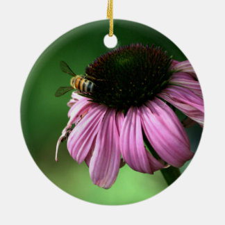 Bee on Flower Ceramic Ornament
