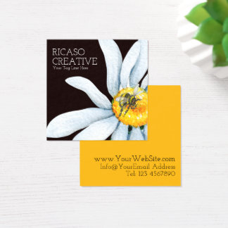 Bee on Flower Custom Personalized Watercolor Square Business Card