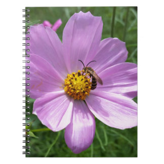bee on flower spiral note book