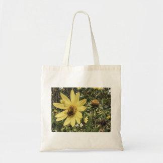 Bee on flowers tote bag