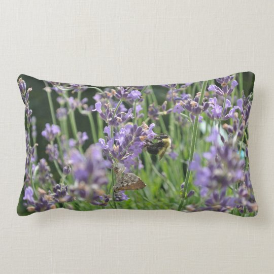 Bee on lavender lumbar pillow