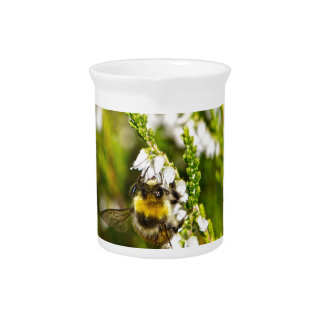 Bee on Lucky White Heather Beverage Pitcher