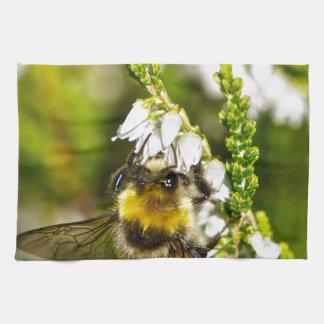 Bee on Lucky White Heather Kitchen Towel