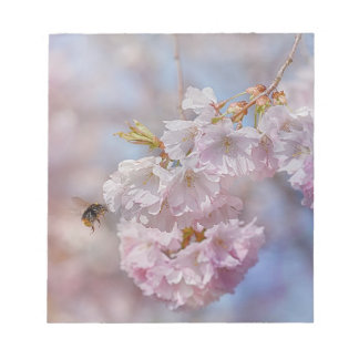 Bee on Pink Blossom Notepad