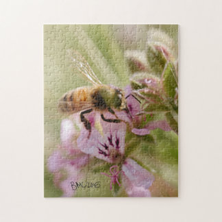 Bee on Pink Flower Jigsaw Puzzle