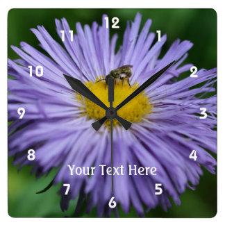 Bee On Purple Daisy Flower #2 Square Wall Clock