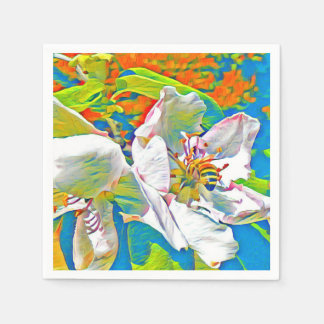 Bee on quince flower in party colors paper napkin