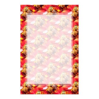 Bee on Red Flower Unlined Stationery