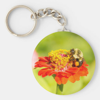 bee on red flower with pollen sacs basic round button keychain