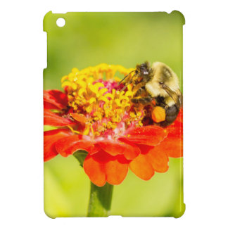 bee on red flower with pollen sacs iPad mini case