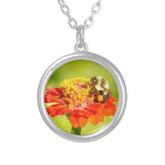 bee on red flower with pollen sacs silver plated necklace