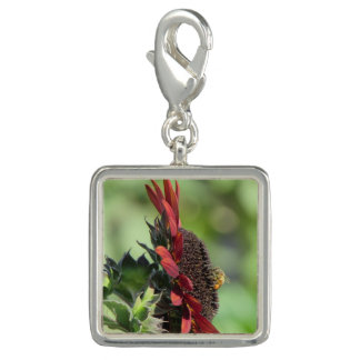 Bee on Red Orange Sunflower Charms