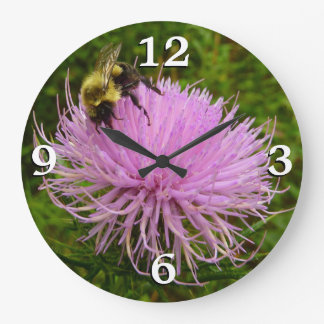 Bee on Thistle Flower Large Clock