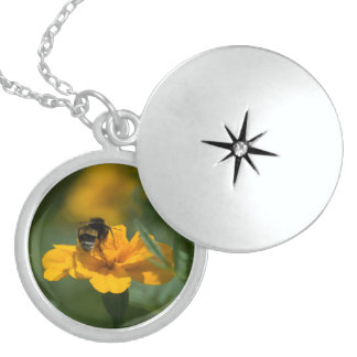bee on top of the yellow flower sterling silver necklace