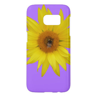 Bee on yellow sunflower with purple background samsung galaxy s7 case