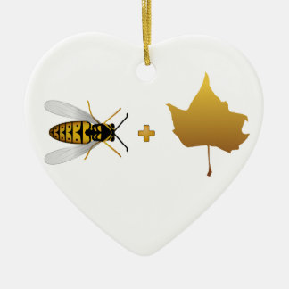 Bee plus a golden maple leaf = Bee + Leaf (Belief) Ceramic Heart Ornament