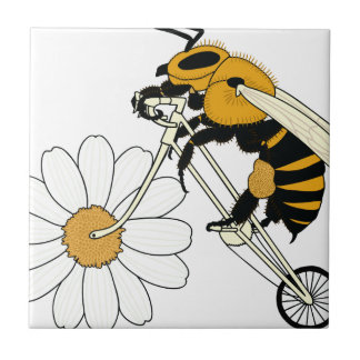 Bee Riding Bike With Flower Wheel Tile