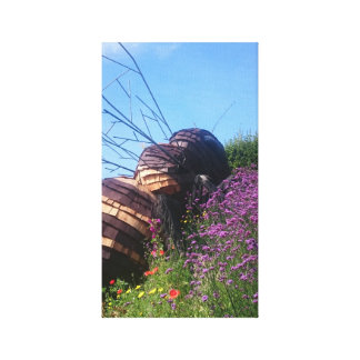 Bee Sculpture with Flowers at The Eden Project Canvas Print