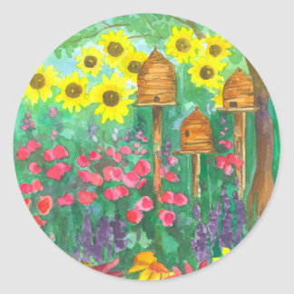 Bee Skep Cottage Garden Watercolor Sunflowers Classic Round Sticker