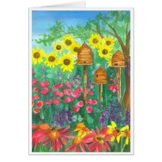 Bee Skep Watercolor Sunflowers Happy Birthday Card