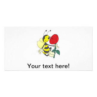 Bee smelling a rose cartoon photo cards