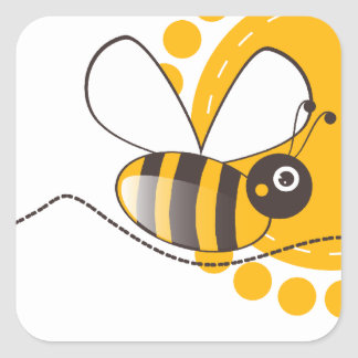 Bee Square Sticker