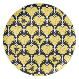 Bee Still My Heart Honey Bee Beehive Damask Party Plates