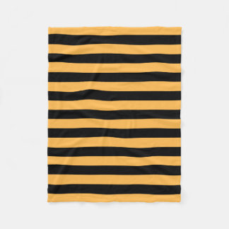 Bee stripes pattern, black and orange lines fleece blanket