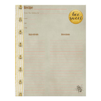 Bee Sweet Cookbook Insert Letterhead