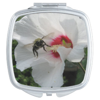 Bee taking off from White Rose of Sharon Compact Mirrors For Makeup