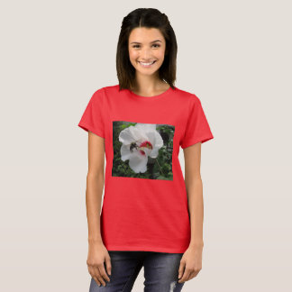 Bee taking off from White Rose of Sharon T Shirt